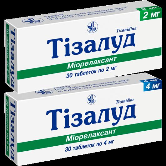 Тізалуд таблетки 2 мг, 4 мг